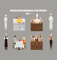 restaurant workers cartoon characters people work vector image
