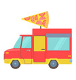 food truck with slice of pizza icon cartoon style vector image
