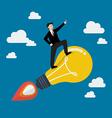 Businessman on a moving lightbulb idea rocket vector image