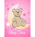 Teddy bear sitting on a moon with stars vector image