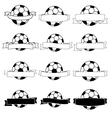 Ribbon with football banner black and white vector image