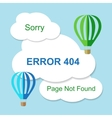 Air balloon with 404 error notification on white vector image