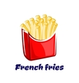 Cartoon french fries in red box vector image