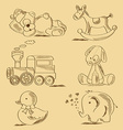 hand drawn toys vector image