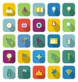 Navigation color icons with long shadow vector image