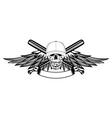 Skull in baseball cap and wings vector image