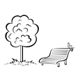 Bird on park bench and tree contour vector image vector image