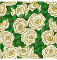 Seamless background with white roses and leaves vector image vector image