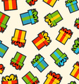 Christmas gift box patch icon pattern background vector image
