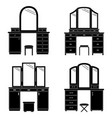 collection of silhouettes of dressing table vector image