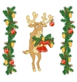 Deer Santa gives a bouquet of branches vector image
