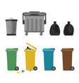 garbage cans flat icons vector image