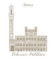palazzo pubblico in siena in hand drawn style vector image