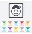 Smile rapper face icon Smiley symbol vector image