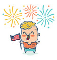 boy with flaf usa vector image