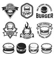 set of burger labels design elements for logo vector image