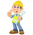 Cartoon Construction worker repairman vector image