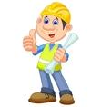 Cartoon Construction worker repairman vector image vector image