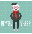 Cartooned Hipster Sheep Graphic Design vector image