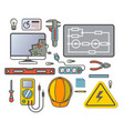 electricity engineering icon set in flat design vector image
