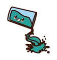 glass splashing water cute kawaii cartoon vector image