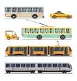 Municipal city transport flat icons set vector image