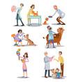 set of professional vet doctors animals vector image