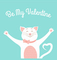 valentine day card template cute smiling cat love vector image