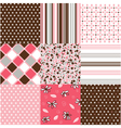 seamless patterns with fabric texture vector image vector image