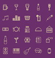 bar color line icons on purple background vector image