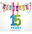 15 years birthday celebration greeting card design vector image