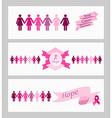 Breast cancer awareness ribbon web banners set vector image vector image