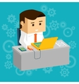 Cartooned Businessman at Working Table with Laptop vector image vector image