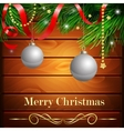 Christmas New Year design wooden background vector image