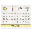 Weather hand drawing line icons doodle vector image vector image