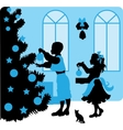 christmas kids silhouettes vector image