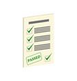 exam pass symbol flat isometric icon or logo 3d vector image