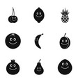 fruit face icon set simple style vector image