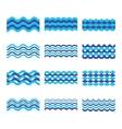 Marine sea ocean waves set vector image