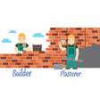 Plasterer and masons at work vector image
