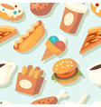 Seamless pattern with fast food icons vector image
