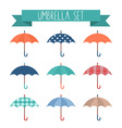 Set of cute flat style autumn umbrellas vector image