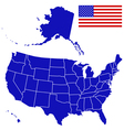 Silhouette map and flag of USA vector image