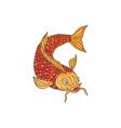 Koi Nishikigoi Carp Fish Swimming Down Drawing vector image vector image