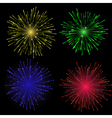 Bright abstract festive fireworks set vector image