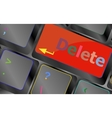 Computer keyboard - Red key Delete business vector image