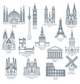 set of attractions of europe vector image vector image