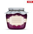 glass jar with raspberries jam vector image