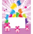 festive balloons and gift boxes vector image vector image