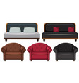 armchairs and sofa in different design vector image